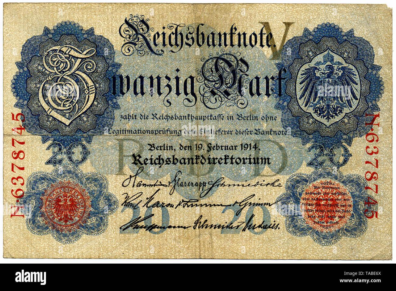 Historischer Geldschein, Reichsbanknote, 50 Mark, 1910, Deutschland, Europa Stockbild