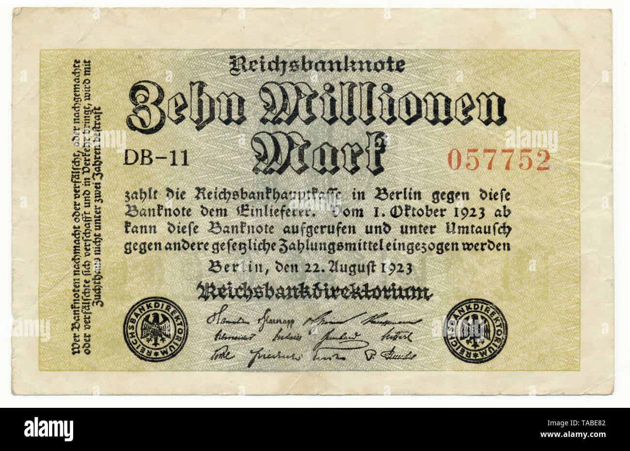 Vor der Reichsbank Banknote, Vorderseite einer Banknote, Reichsbanknote, 10 Millionen Mark, 1923, Inflationsgeld, Deutschland, Europa Stockbild