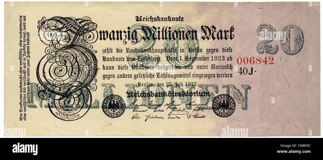 Historischer Geldschein, Reichsbanknote, 20 Millionen Mark, 1923, Inflationsgeld, Deutschland, Europa Stockbild