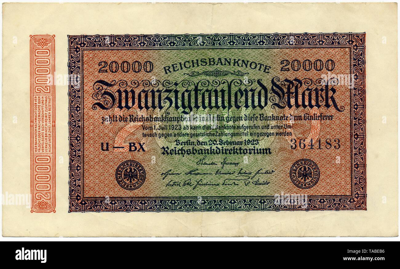 Historischer Geldschein, Reichsbanknote 1923, 20000 Mark, Inflationsgeld, Deutschland, Europa Stockbild