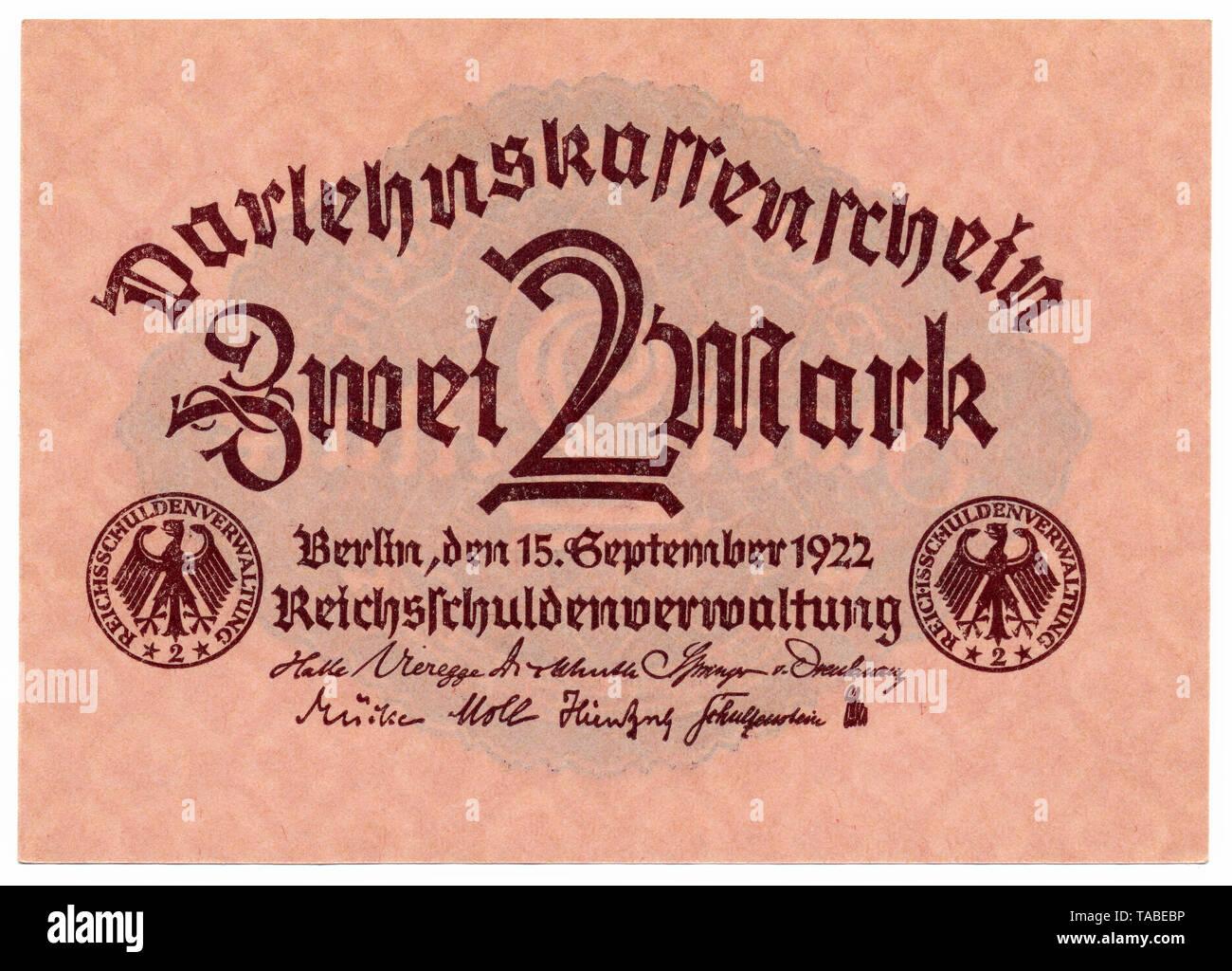 Historischer Geldschein, Darlehnskassenschein, Reichsschuldenverwaltung, 2 Mark, 1922, Deutschland, Europa Stockbild
