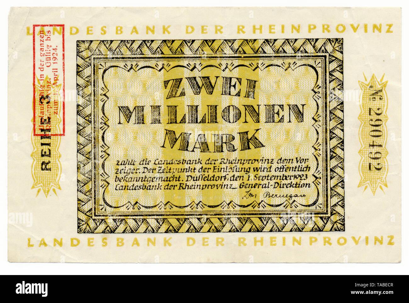 Vor der Reichsbank Banknote, Vorderseite einer Banknote, Landesbank der Rheinprovinz, 2 Millionen Mark, 1924, Inflationsgeld, Deutschland, Europa Stockbild