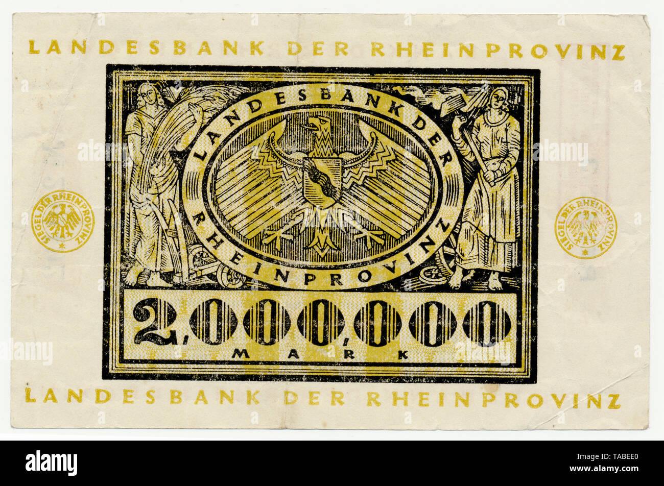 Rückseite der Reichsbank Banknote, Rückseite einer Banknote, Landesbank der Rheinprovinz, 2 Millionen Mark, 1924, Inflationsgeld, Deutschland, Europa Stockbild