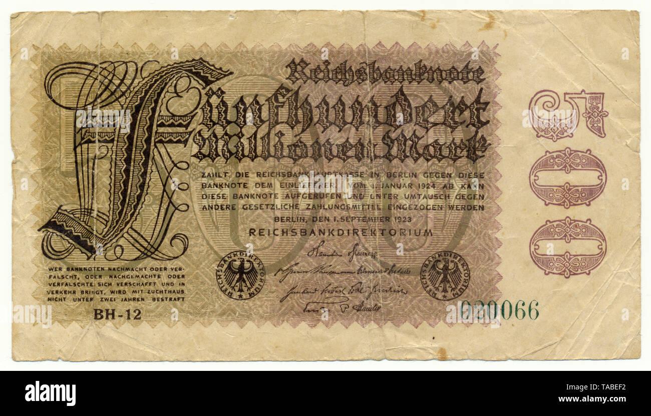 Vorderseite der Reichsbank Banknote, Vorderseite einer Banknote Reichsbanknote, 500 Millionen Mark, 1923, Inflationsgeld, Deutschland, Europa Stockbild