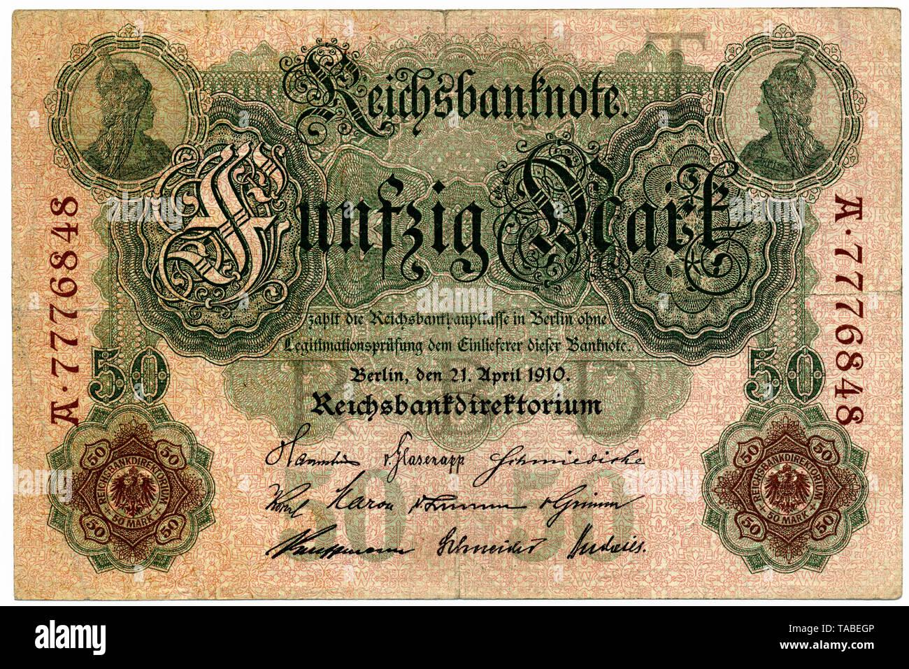 Historischer Geldschein, Reichsbanknote, zwanzig Mark, 1914, Deutschland, Europa Stockbild