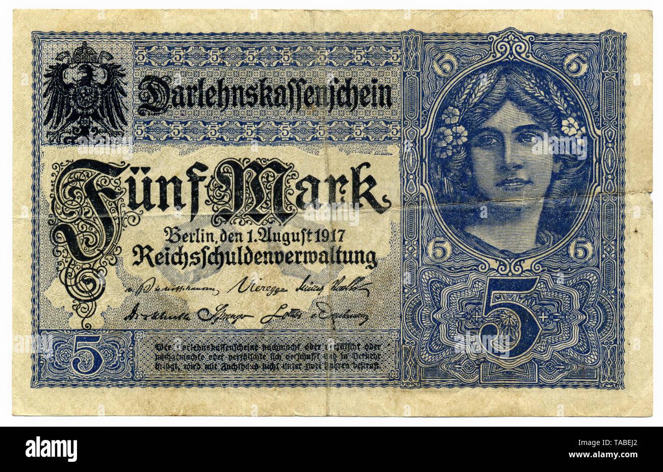 Darlehnskassenschein, historische Banknote, 5 Mark, 1917, Berlin, Deutschland Stockbild