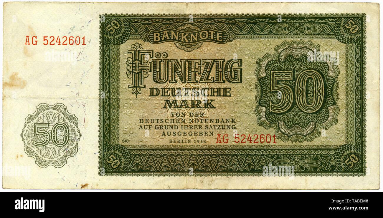 Historische Banknote, 50 Deutsche Mark, 1948, Deutschland, Europa Stockbild