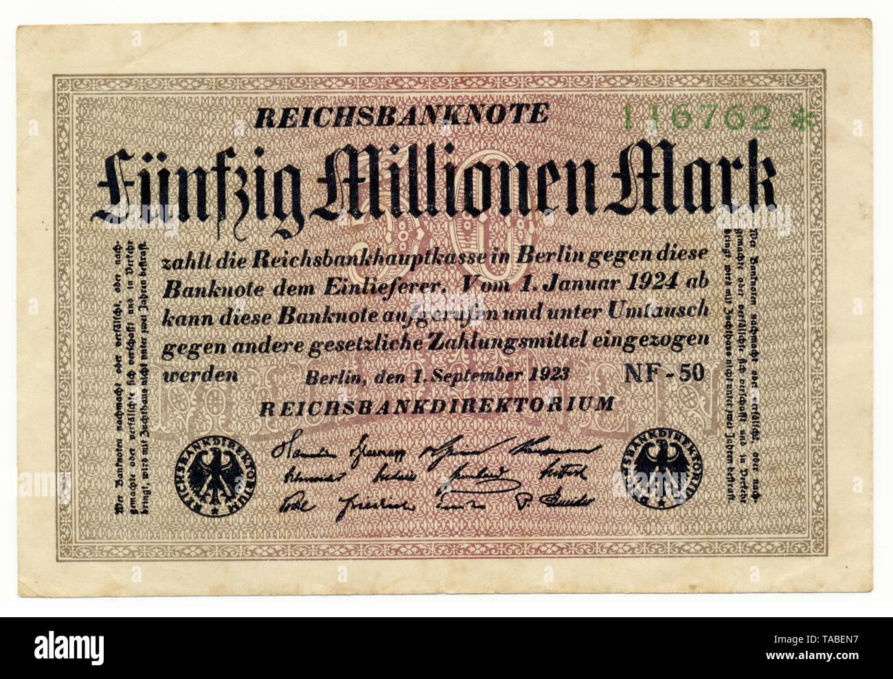 Vorderseite der Reichsbank Banknote, Vorderseite einer Banknote, Reichsbanknote, 50 Millionen Mark, 1922, Inflationsgeld, Deutschland, Europa Stockbild
