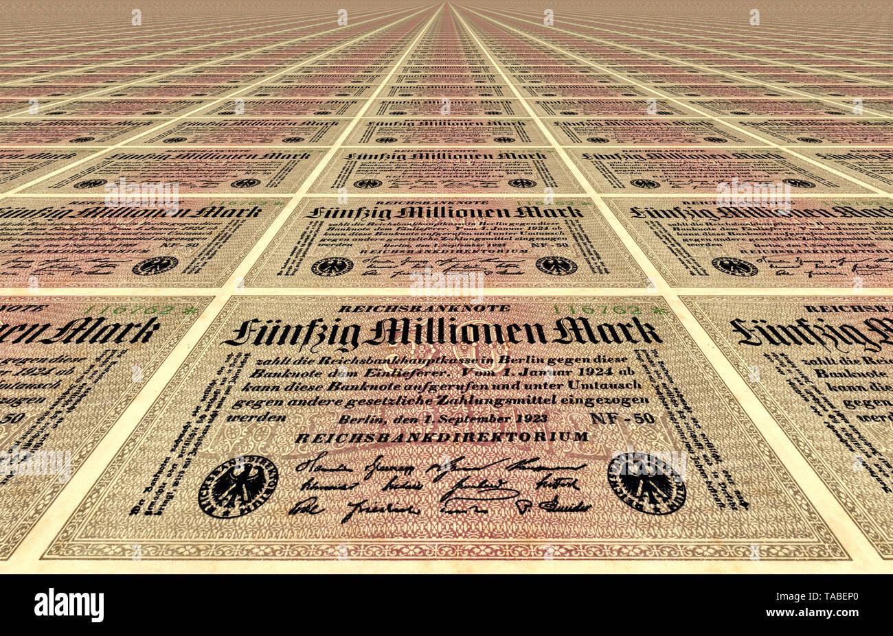 Vor der Reichsbank Banknote, Muster, Vorderseite einer Banknote, perspektivische Wiederholung, Reichsbanknote, 50 Millionen Mark, 1922, Inflationsgeld, Deutschland, Europa Stockbild