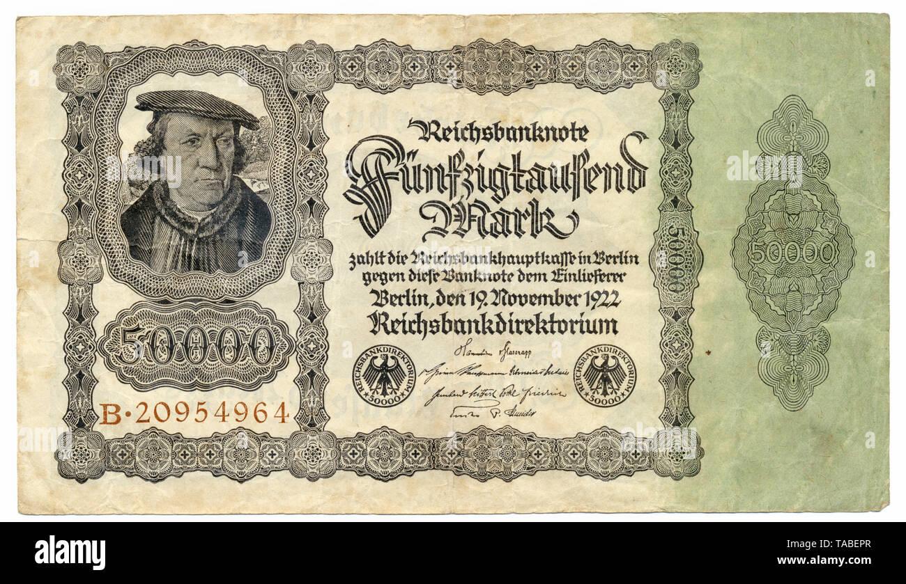 Vorderseite der Reichsbank Banknote, Vorderseite einer Banknote, Reichsbanknote, 50000 Mark, 1922, Inflationsgeld, Deutschland, Europa Stockbild