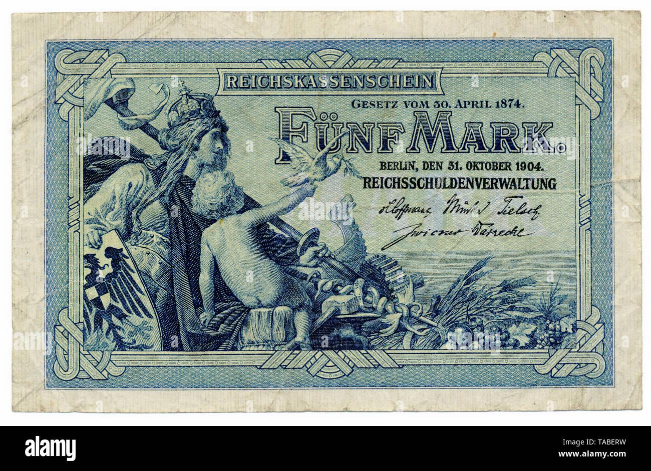 Vorderseite der Reichsbank Banknote, Vorderseite, Reichskassenschein, Reichsbanknote, 5 Mark, 1904, Deutschland, Europa Stockbild