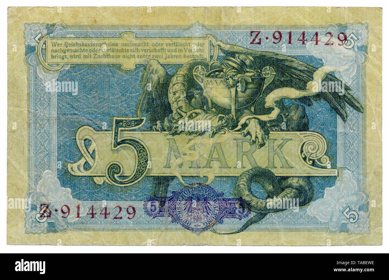 Rückseite der Reichsbank Banknote, Rückseite, Reichskassenschein, Reichsbanknote, 5 Mark, 1904, Deutschland, Europa Stockbild