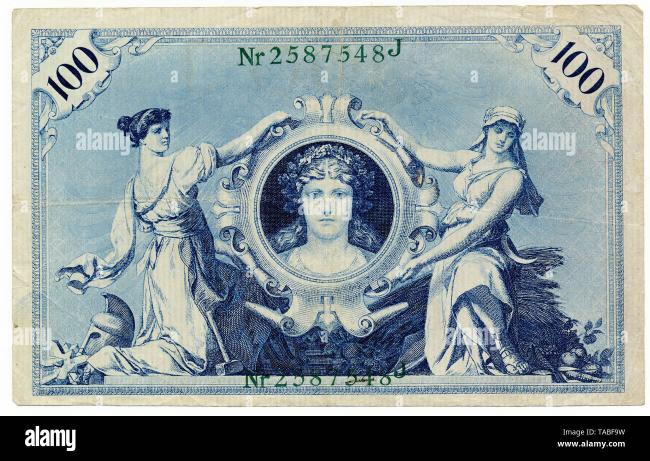 Vorderseite der Reichsbank Banknote, Vorderseite, Reichsbanknote 100 Mark, 1908, Deutschland, Europa Stockbild