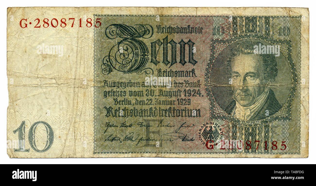 Vorderseite der Reichsbank Banknote, Vorderseite, Reichsbanknote, 20 RM (Reichsmark), 1929, Deutschland, Europa Stockbild