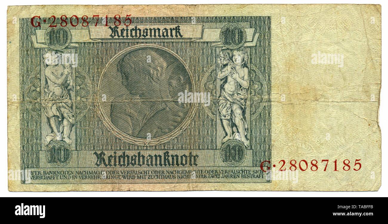 Rückseite der Reichsbank Banknote, Rückseite, Reichsbanknote, 20 RM (Reichsmark), 1929, Deutschland, Europa Stockbild