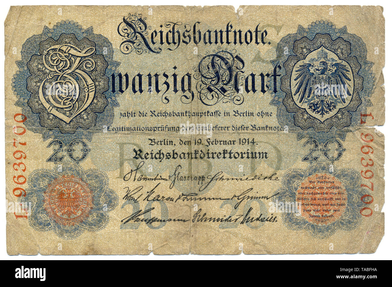 Vor der Reichsbank Banknote, 20 RM (Reichsmark), Deutschland, Vorderseite, Reichsbanknote, 20 RM (Reichsmark), 1914, Deutschland, Europa Stockbild