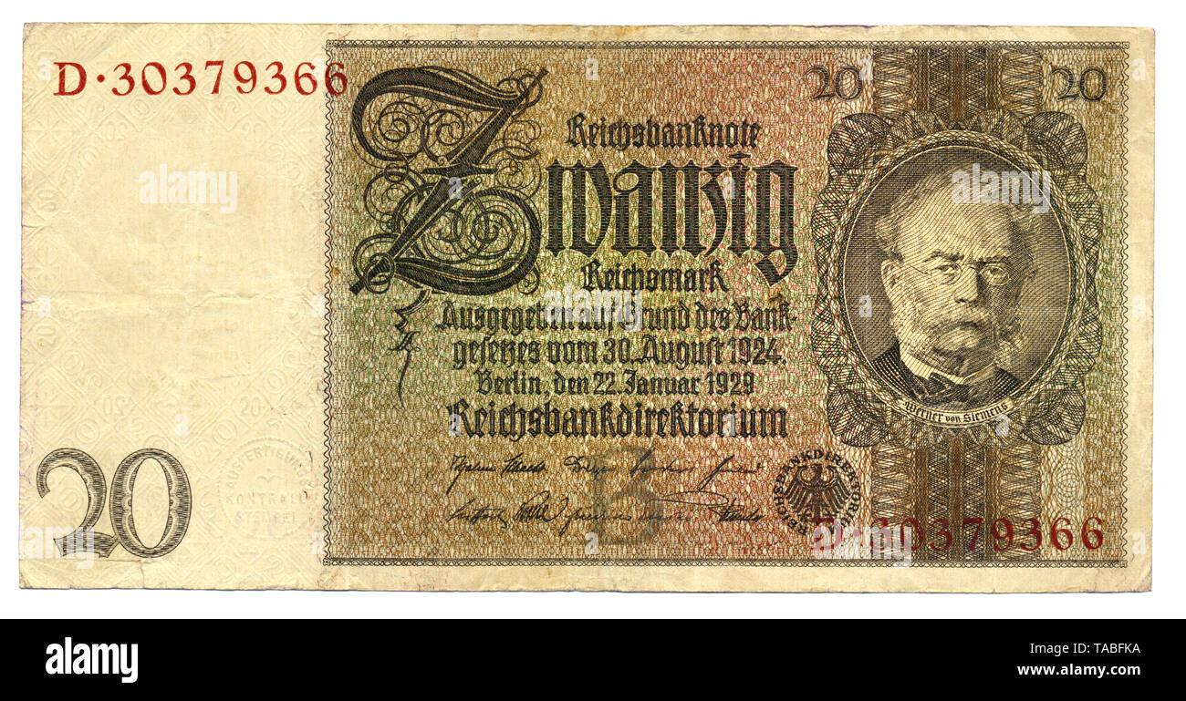 Vor der Reichsbank Banknote, Vorderseite, Reichsbanknote, 20 RM (Reichsmark), 1929, Deutschland, Europa Stockbild