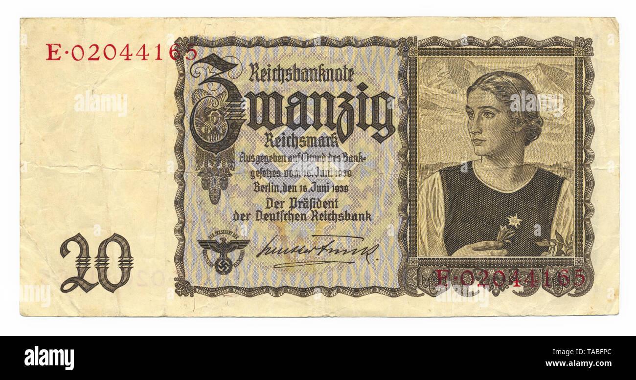 Vor der Reichsbank Banknote, Vorderseite, Reichsbanknote, 20 RM (Reichsmark), 1939, Deutschland, Europa Stockbild