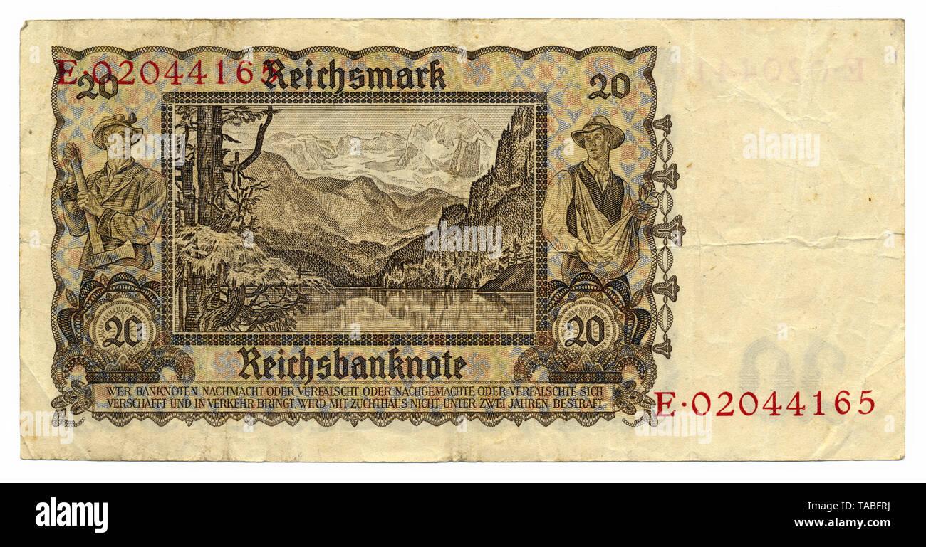 Rückseite der Reichsbank Banknote, Rückseite, Reichsbanknote, 20 RM (Reichsmark), 1939, Deutschland, Europa Stockbild