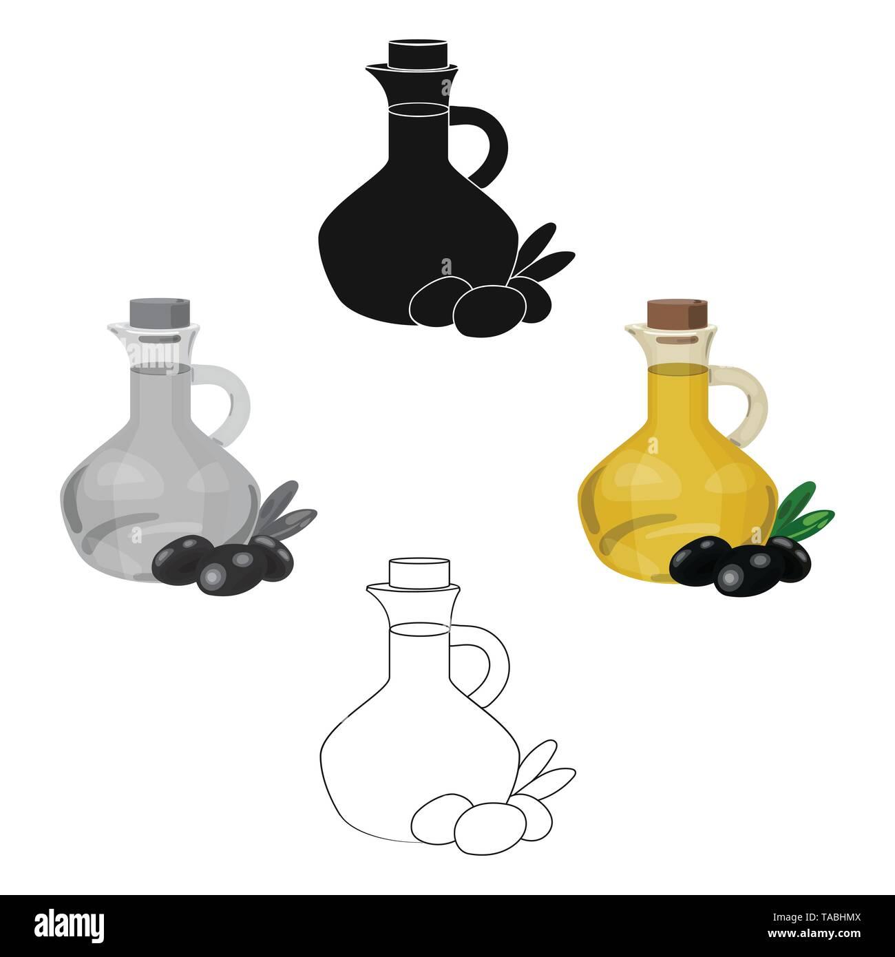 Olivenöl Flasche mit Cartoon, schwarze Oliven Zweig Symbol im Cartoon Stil, schwarz auf weißem Hintergrund. Griechenland symbol Vektor Illustration. Stockbild