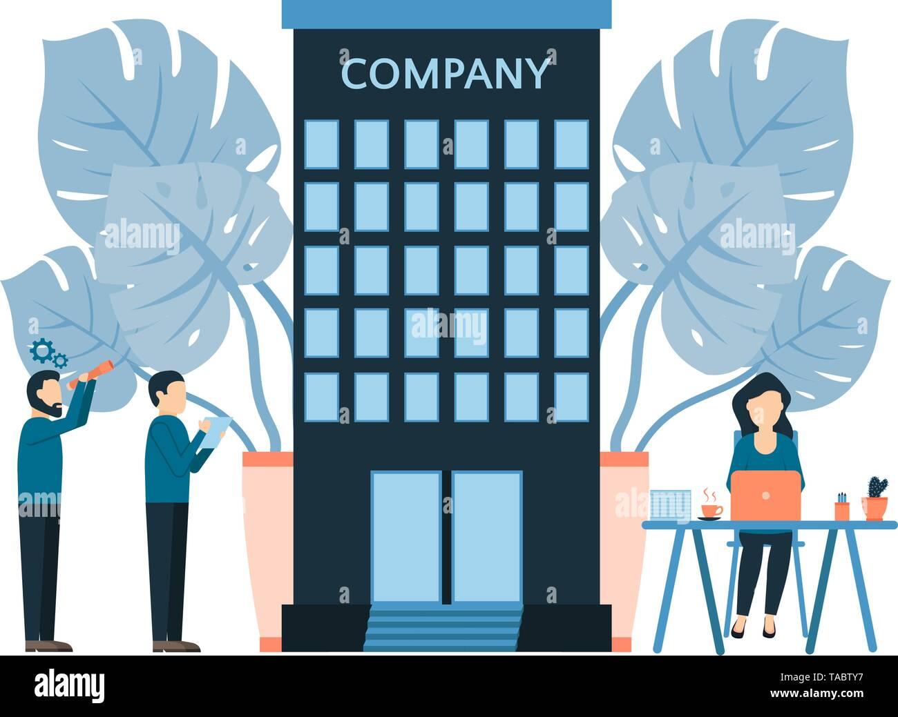 Unternehmen und Menschen bei der Arbeit, Wettbewerbsanalyse, mit monstera Blume Blätter eingerichtet, Büroarbeiter Mädchen und Männern, Business Process Vektor illustra Stockbild
