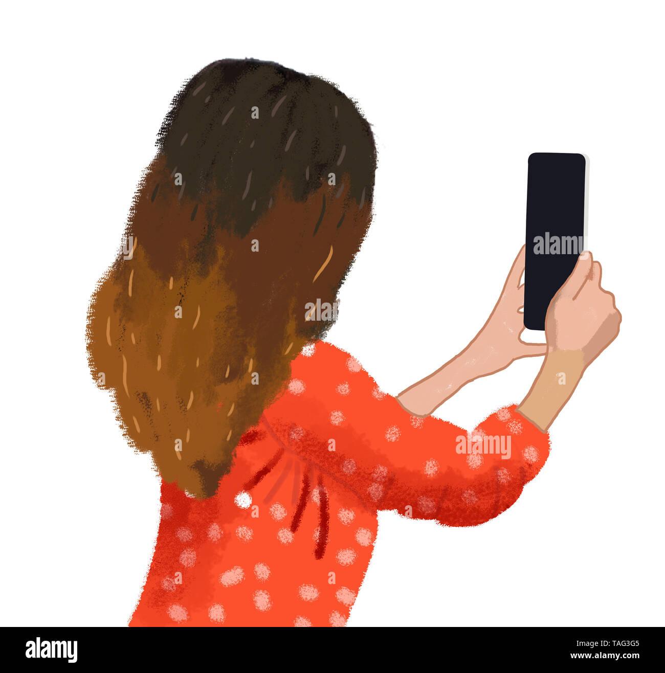 Handy selfie Stockbild