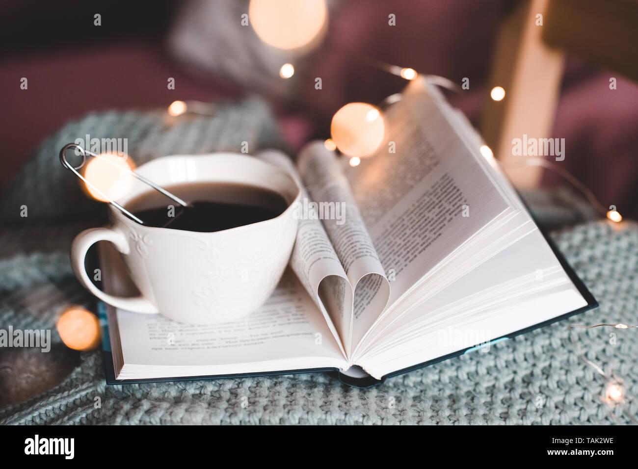 Tasse Schwarzen Kaffee Bleiben Auf öffnen Mit Mit Herz Aus
