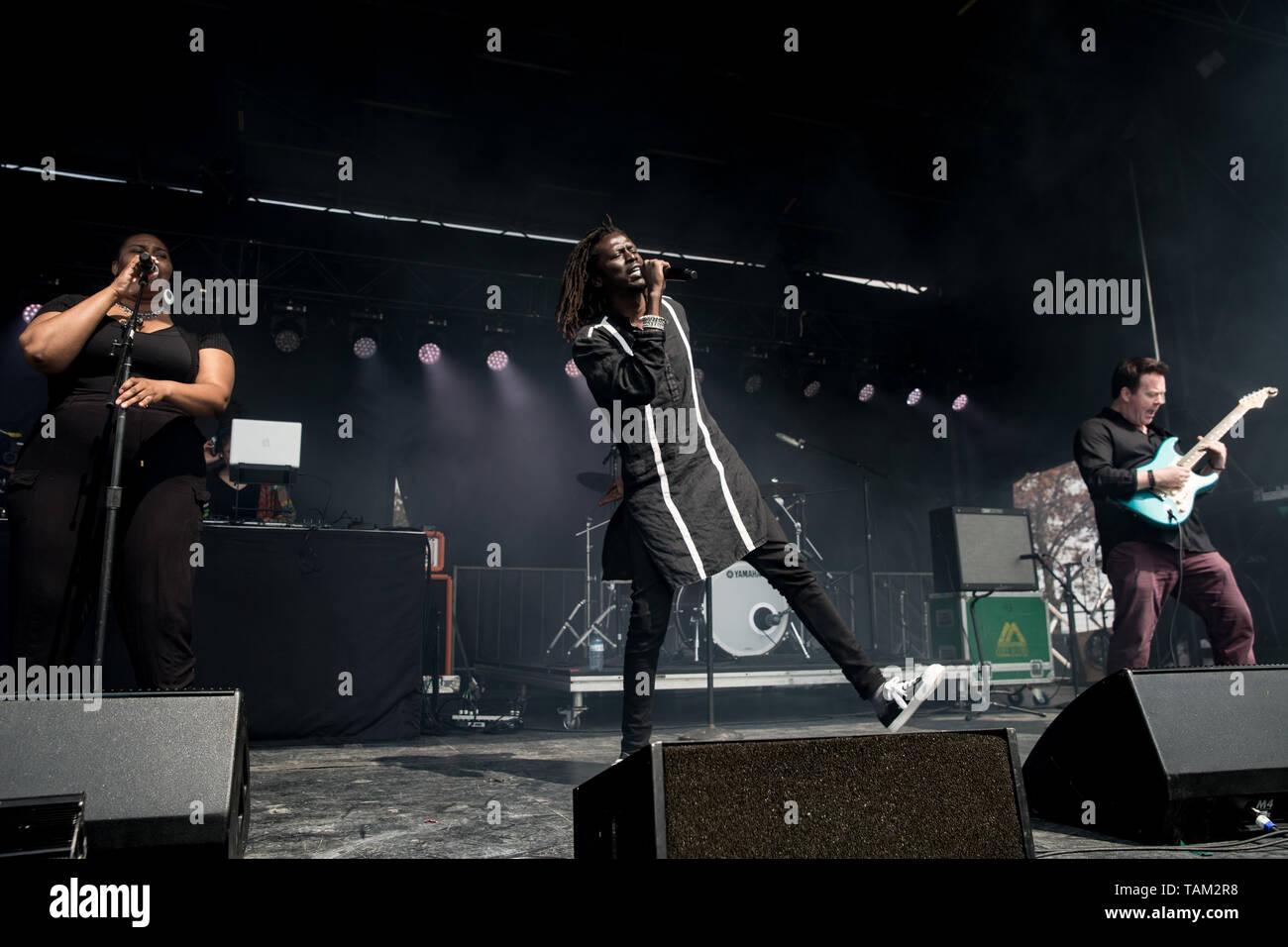 Sudanese-Canadian Sänger Emmanuel Jal führt auf dem CBC-Music Fest in Toronto, Kanada Stockbild