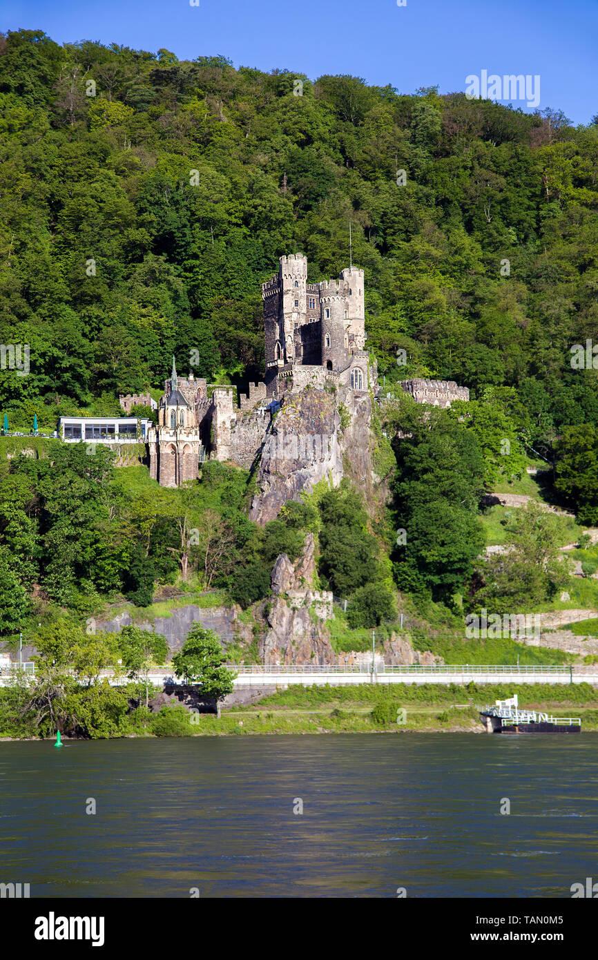 Burg Rheinstein, stirnrad Schloss zwischen Bingen und Trechtingshausen, Oberes Mittelrheintal, Rheinland-Pfalz, Deutschland Stockbild