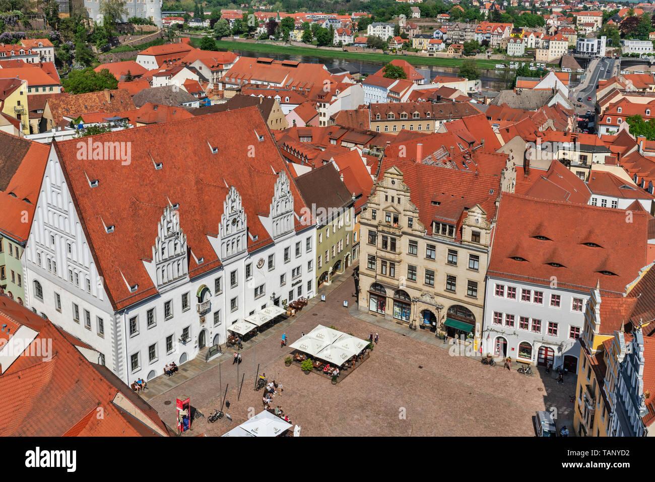 Blick von der Frauenkirche (Kirche unserer Dame) auf dem Marktplatz von Meißen, Sachsen, Deutschland, Europa Stockbild