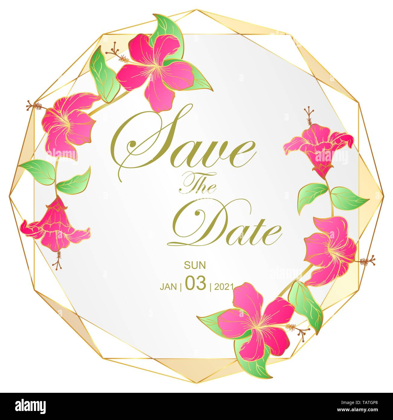 Goldene Hochzeit Einladung Karte Von Hibscus Blume Und