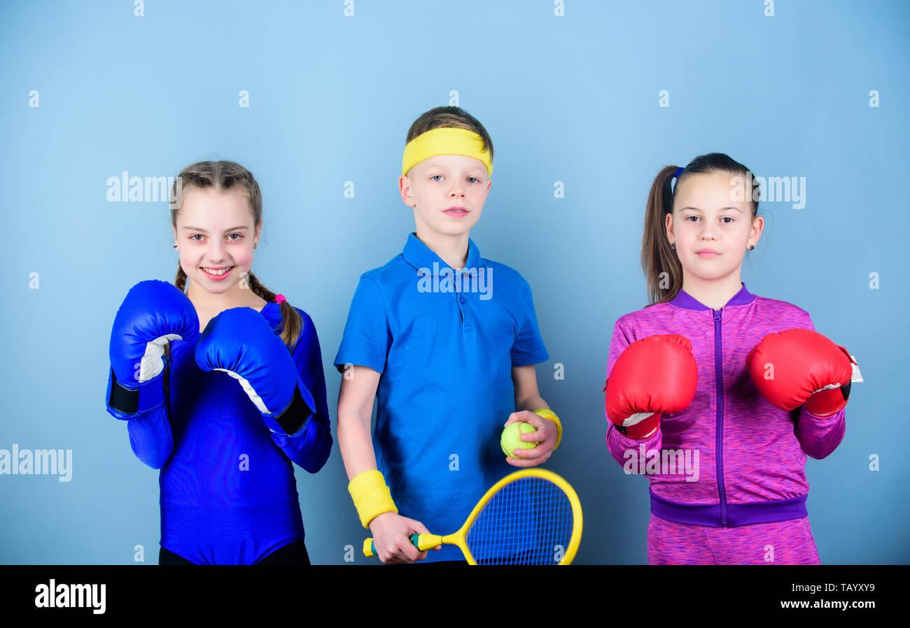 Nie aufhören. Training von kleinen Mädchen und jungen Boxer