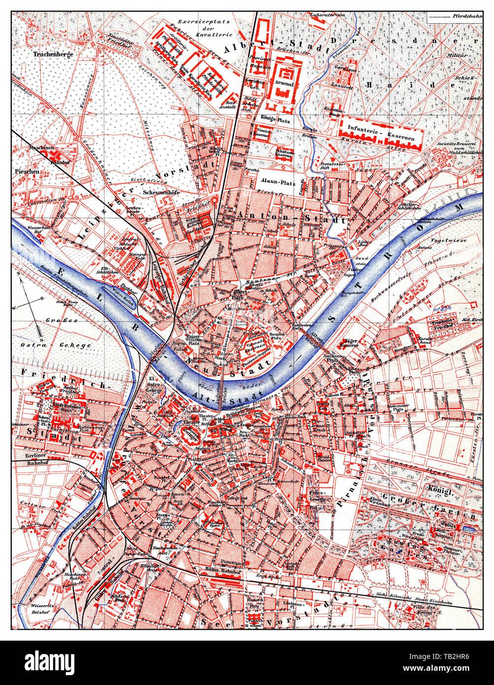 Karte Von Dresden Deutschland Europa Ende Des 19 Jahrhunderts