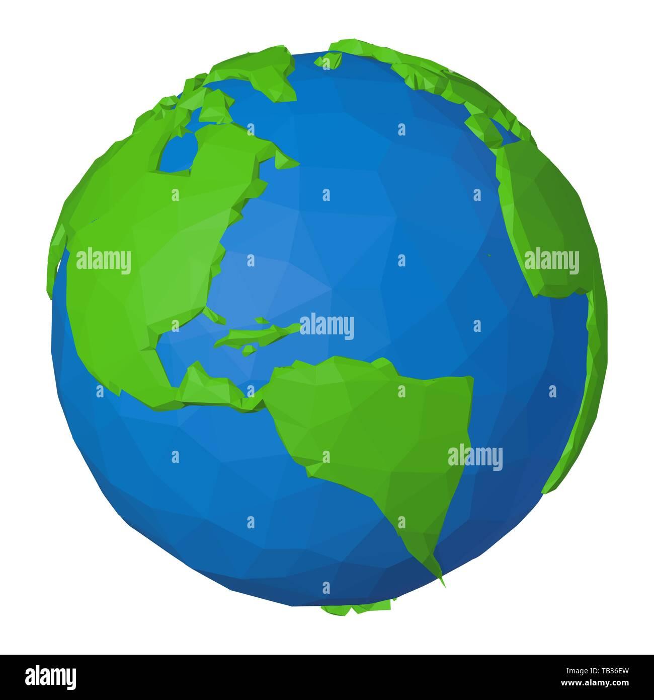 Mexiko Karte Welt.Nordamerika Als Teil Der Globalen Welt Auf Low Poly Symbol