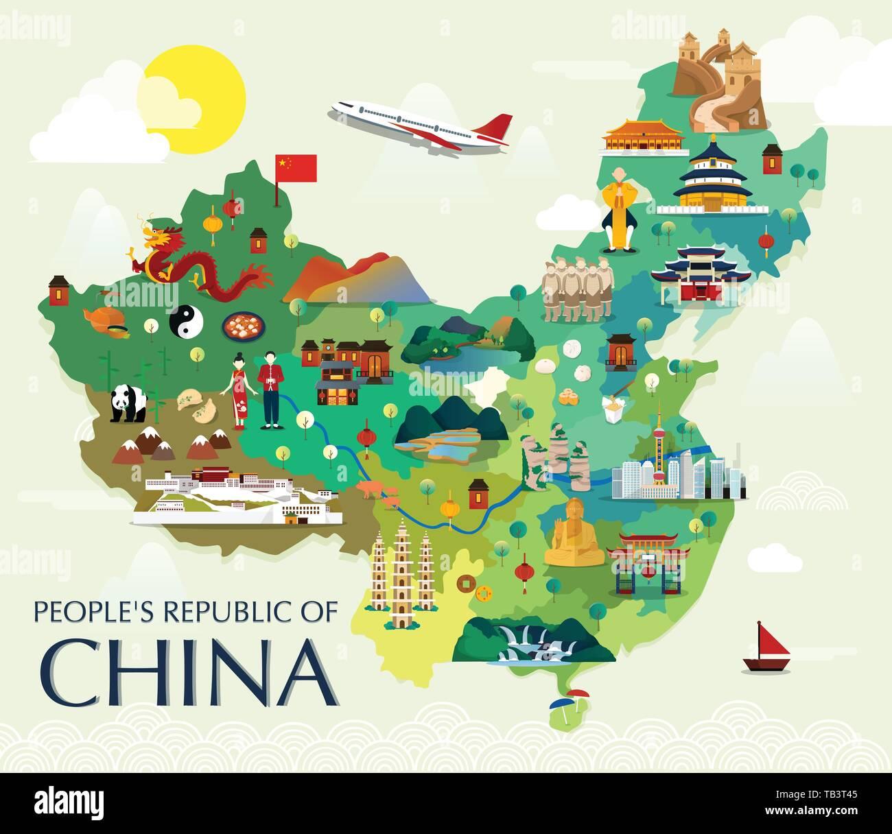 china sehenswürdigkeiten karte Karte von China Sehenswürdigkeiten Vektor und Illustration Stock