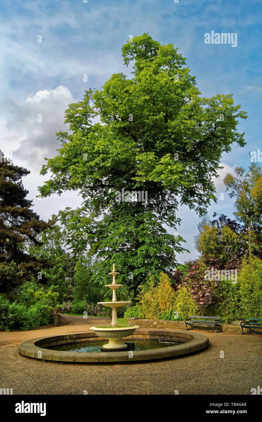 UK, South Yorkshire, Sheffield, botanischen Gärten, vier Stufe Brunnen Stockbild
