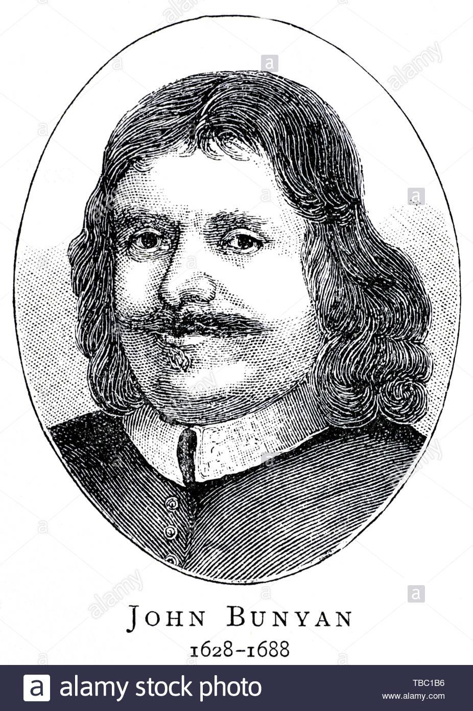John Bunyan Porträt, 1628-1688 war ein englischer Schriftsteller und puritanische Prediger am besten als Thema der christlichen Allegorie der Pilgerreise erinnert Stockbild
