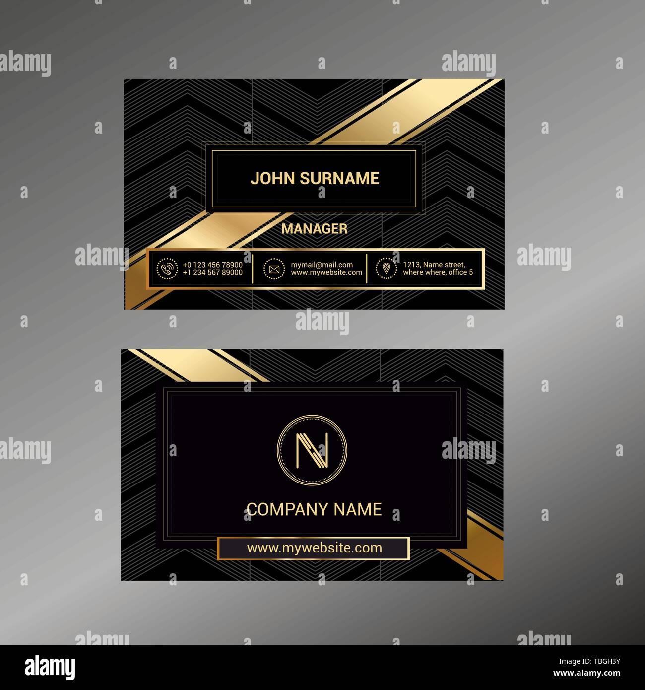 Visitenkarte Vorlage Mit Schwarz Deluxe Hintergrund Vektor