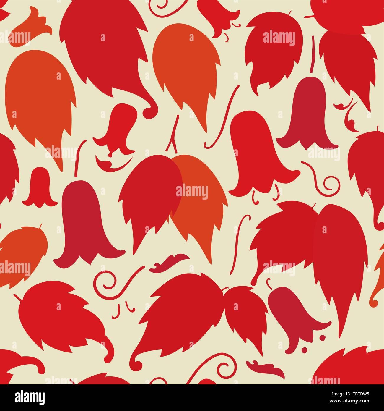 Vector Illustration. Nahtlose rote Blätter Hintergrund mit Blumen und Ranken. Stockbild