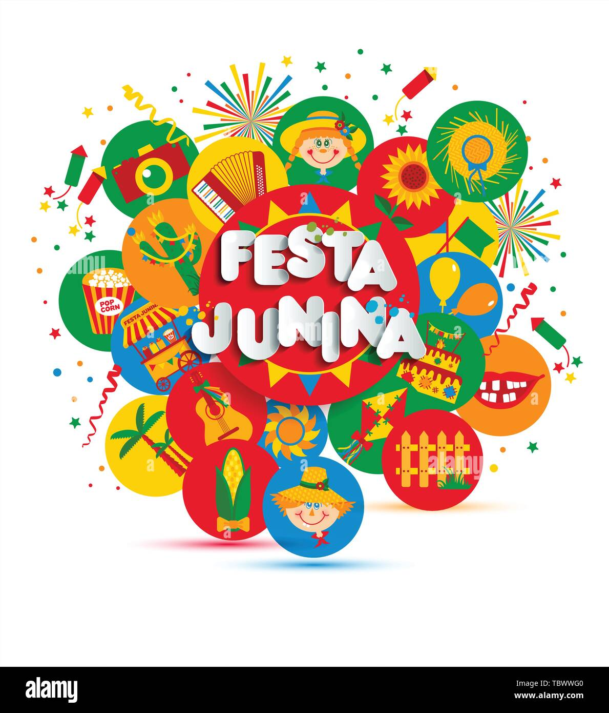 Festa Junina Dorffest In Lateinamerika Icons Set Abbildung
