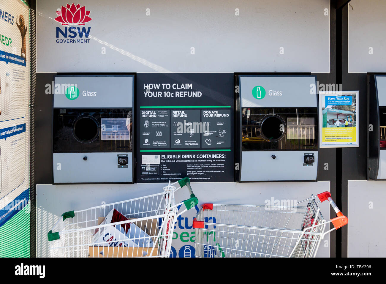 Ein spezieller Bereich am Bondi Beach einrichten Abfälle wie Kunststoff, wo Sie Geld, die Menschen ermutigt, die Umwelt zu schützen verdienen können, Sydne Stockbild