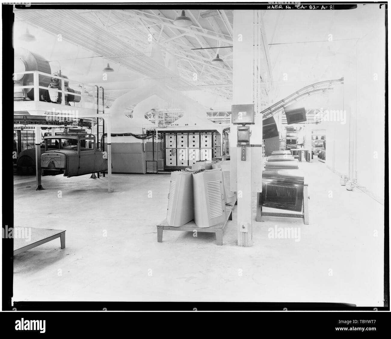 Neg. Nr. F 63, Apr 13, 1930, INTERIORASSEMBLY GEBÄUDE, HAUBE ABTEILUNG Ford Motor Company Long Beach Montagewerk, Assembly Building, 700 Henry Ford Avenue, Long Beach, Los Angeles County, CA Stockbild