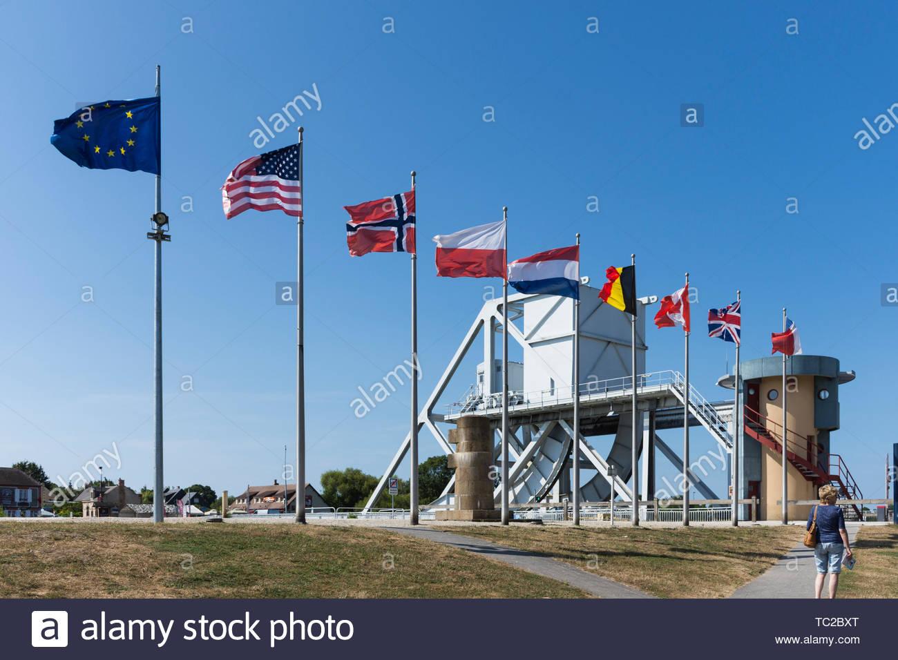 Pegasus Bridge, befreit von den Alliierten am D-Day, 6. Juni 1944, Normandie, Frankreich Stockbild