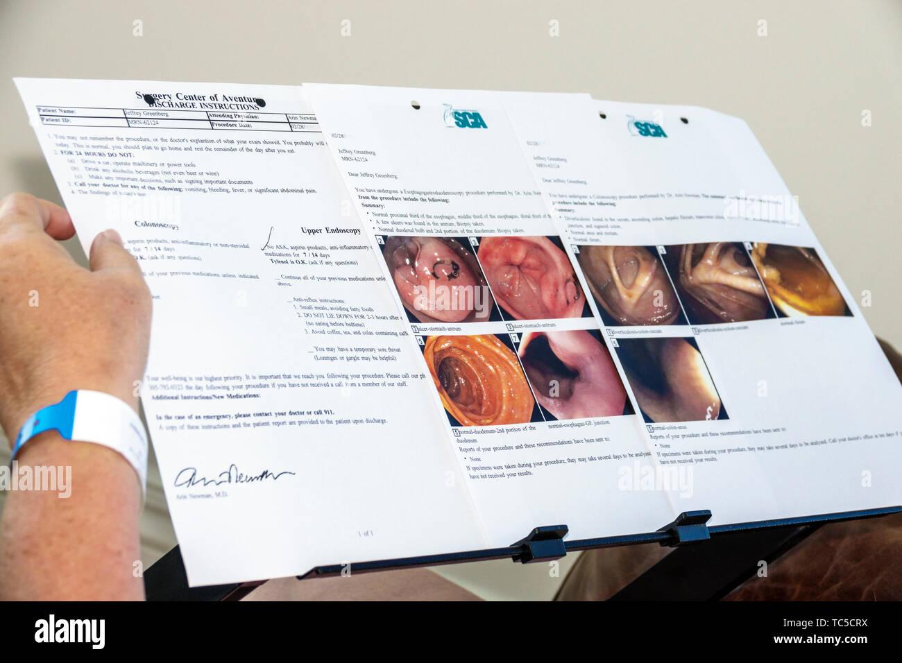 Miami Beach, Florida Patienten Ärztlicher Bericht Ergebnisse colonoscopy obere Endoskopie Darm Verdauungstrakt fotos Speiseröhre Anweisung Entlastung Stockbild