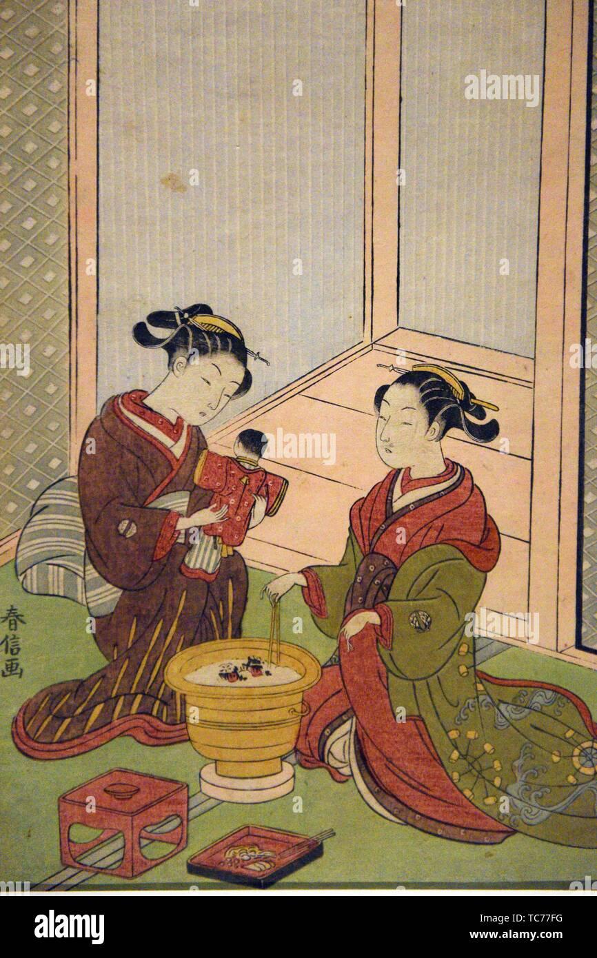 Zwei Schönheiten von einem brazier von Suzuki Harunobu (1725-70), Edo Periode, 18. Jahrhundert, Tokyo National Museum, Tokyo, Honshu, Japan, Asien. Stockbild