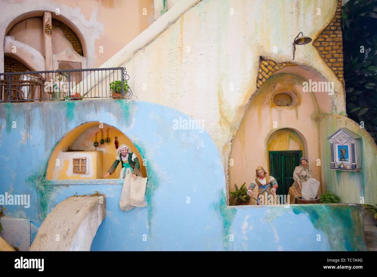 Die Vervielfältigung von Fischerdorf mit Abbildungen des täglichen Lebens in Santa Margherita Nuova Kirche, Procida, Phlegräischen Inseln, Golf von Neapel, Bucht von Stockbild