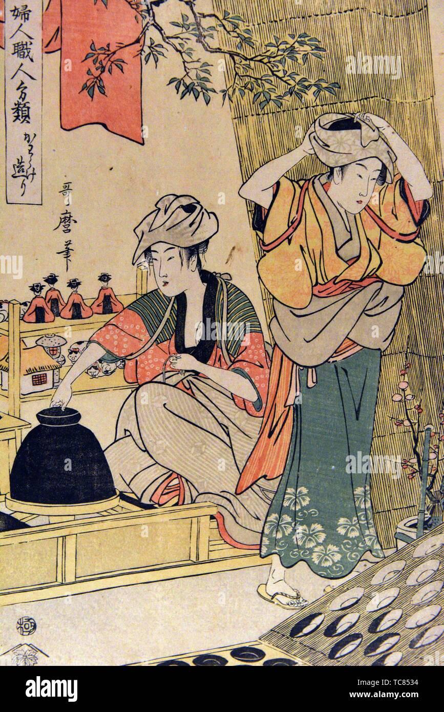 Ausgewählte Arten von weiblichen Handwerker: Hersteller von unglasierte Tonwaren, von Kitagawa Utamaro (1753-1806), Edo Periode, 18. Jahrhundert, Tokyo National Stockbild