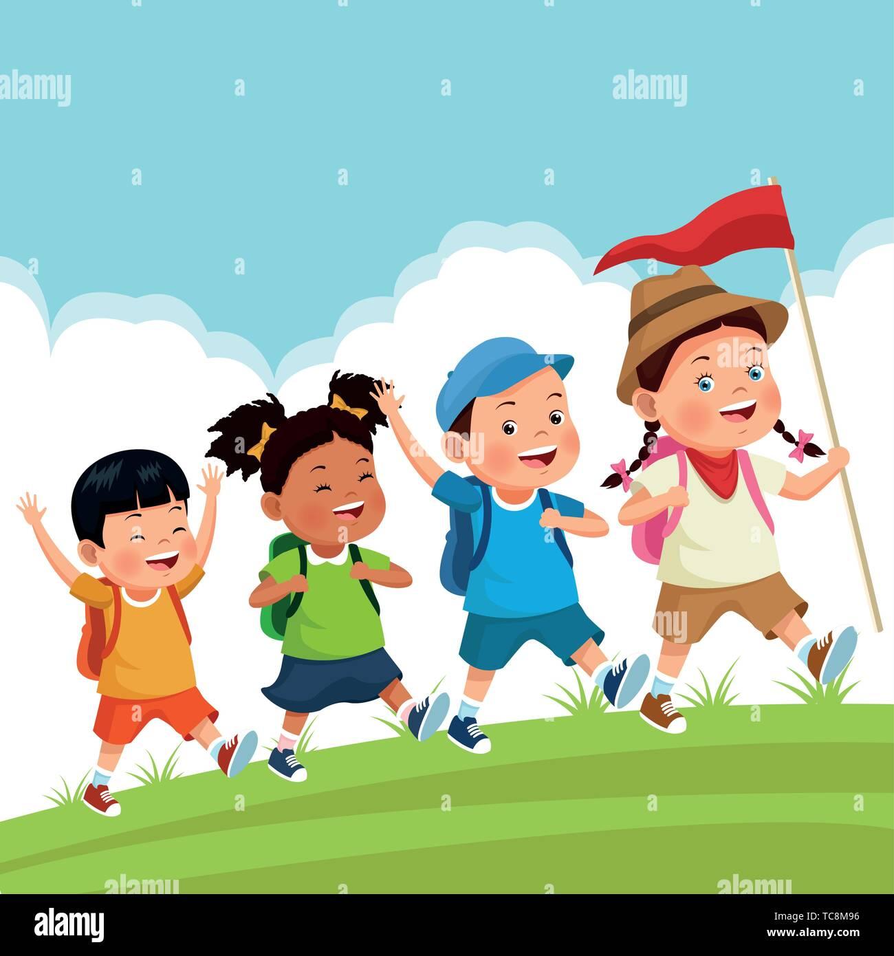 Kinder auf Schulausflug Stock-Vektorgrafik - Alamy