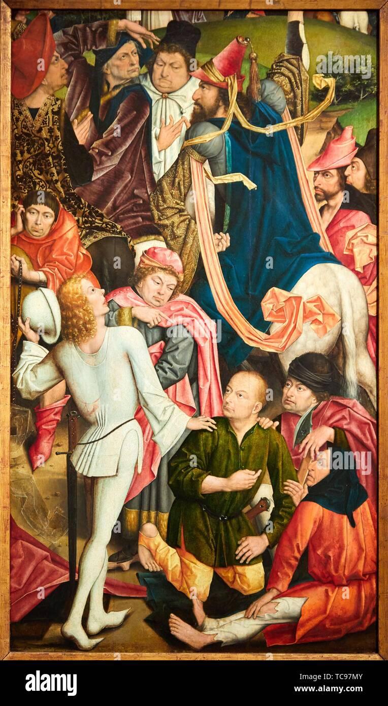 ''' Ritter und Soldaten Würfeln spielen für Gewand Christi'', 1477-1478, Derick Baegert, Thyssen Bornemisza Museum, Madrid, Spanien, Europa Stockbild