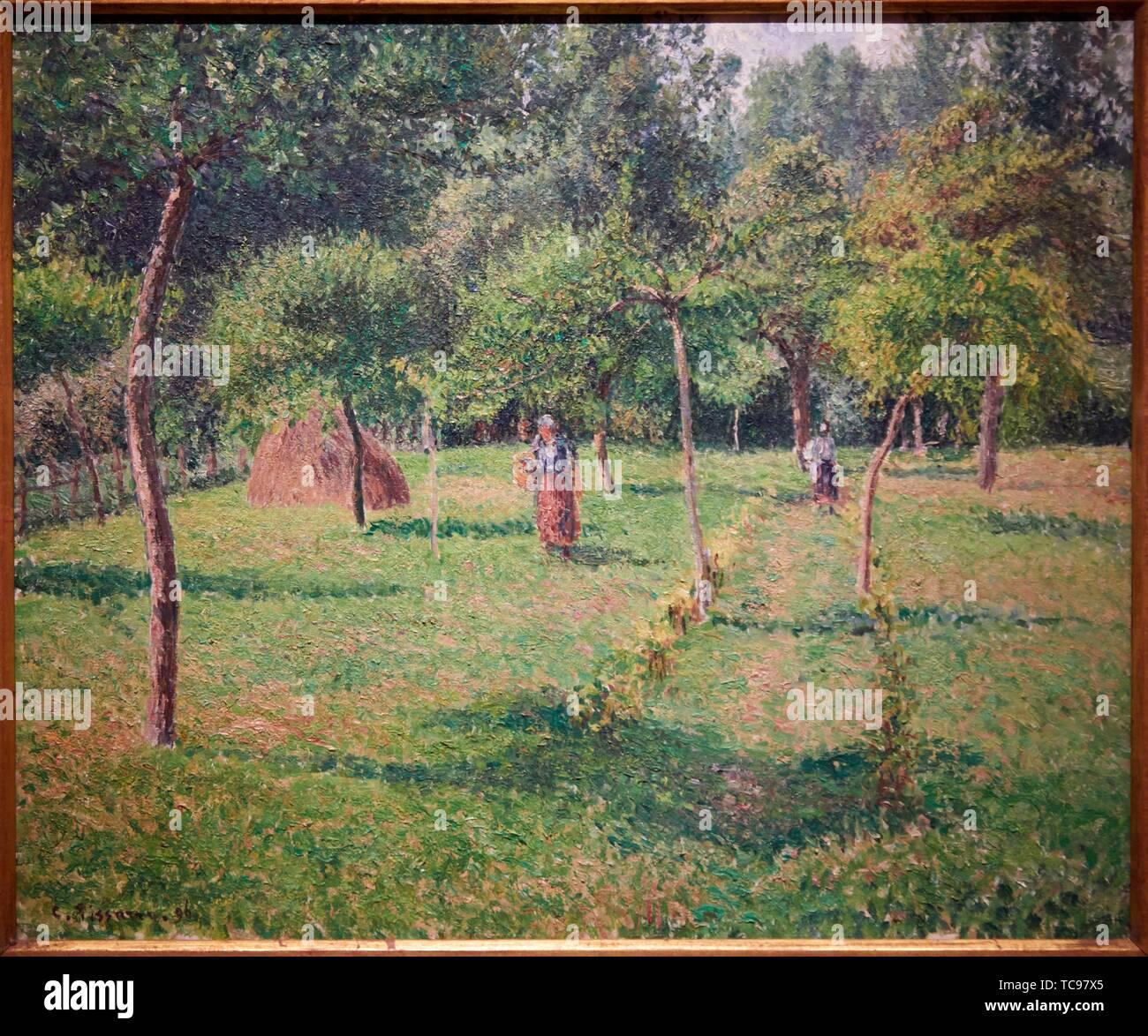 ''' Der Obstgarten in Cergy'', 1896, Camille Pissarro, Thyssen Bornemisza Museum, Madrid, Spanien, Europa Stockbild